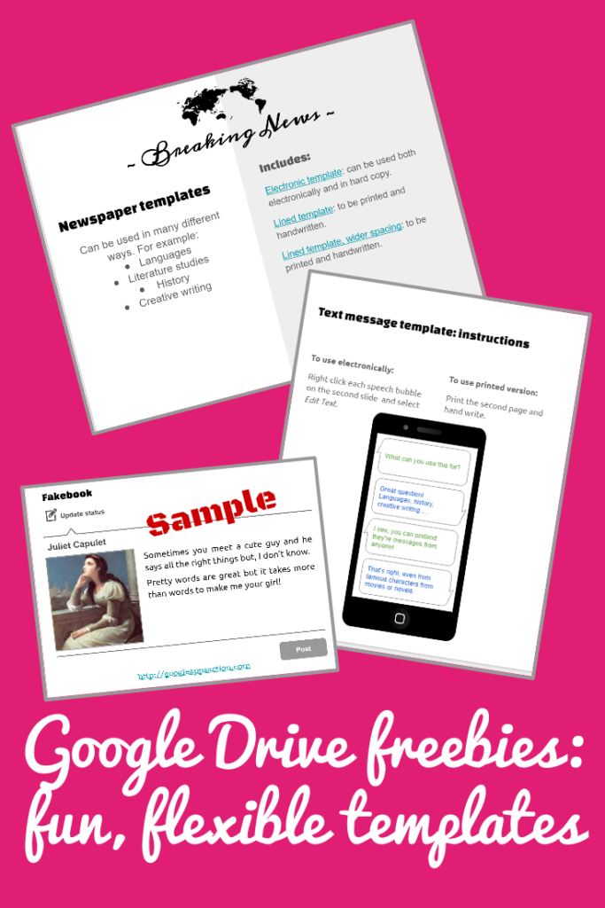 Google Drive freebies - fun, flexible templates for the classroom
